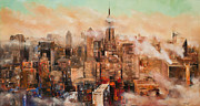 New York City Skyline Painting Originals - New York City Through the Clouds by Manit