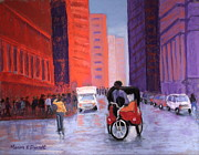 Cities Pastels Prints - New York City Transport Print by Marion Derrett