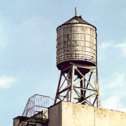 New York City Rooftop Photos - New York City water tower 1 by Gary Heller