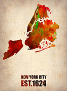 New York Map Posters - New York City Watercolor Map 2 Poster by Irina  March