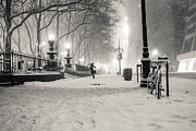Blizzard New York Prints - New York City Winter Night Print by Vivienne Gucwa