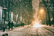 New York City - Winter Night - Washington Square Print by Vivienne Gucwa