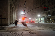 Winter Night Photo Metal Prints - New York City Winter - Romance in the Snow Metal Print by Vivienne Gucwa