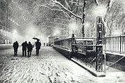 Bryant Posters - New York City - Winter - Snow at Night Poster by Vivienne Gucwa