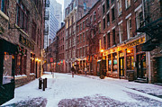 Cobble Stone Framed Prints - New York City - Winter - Snow on Stone Street Framed Print by Vivienne Gucwa