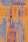 Brandi Fitzgerald Mixed Media - New York Empire State Fusion Art by Brandi Fitzgerald