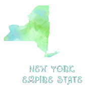 Abstract Map Mixed Media - New York - Empire State - Map - State Phrase - Geology by Andee Photography