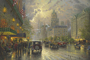 People Paintings - New York Fifth Avenue by Thomas Kinkade