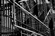 Nyc Fire Escapes Photos - New York Fire Escapes 1 by John Colley