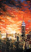 New York State Paintings - New York FireSky by Michael Leporati