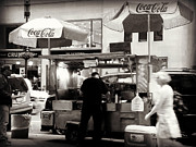 At Work Posters - New York Food Cart and Patrons Poster by Miriam Danar