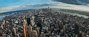 Hannes Cmarits Metal Prints - New York from a birds eyes - fisheye Metal Print by Hannes Cmarits