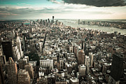 New York City Framed Prints - New York from above - vintage Framed Print by Hannes Cmarits