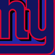 Pop Icon Mixed Media Posters - New York Giants Football Poster by Tony Rubino