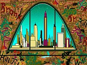 American Graffiti Digital Art Framed Prints - New York Graffiti - Wall Art Framed Print by Peter Art Print Gallery  - Paintings Photos Posters