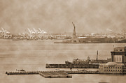 Liberty Island Framed Prints - New York Harbor and Statue of Libertty vintage Framed Print by RicardMN Photography