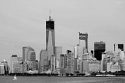 11 Wtc Digital Art Metal Prints - NEW YORK HARBOR in BLACK AND WHITE Metal Print by Rob Hans