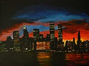 Twin Towers Trade Center Painting Metal Prints - New York in Glory Days Metal Print by Denisa Laura Doltu