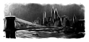 Bridge Drawings Prints - New York in the dark Print by Stefan Kuhn