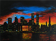 Denisa Laura Doltu Painting Framed Prints - New York in the Glory Days Framed Print by Alexandru Rusu