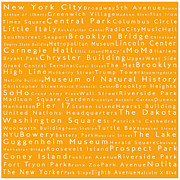 Lincoln Center Framed Prints - New York in Words Orange Framed Print by Sabine Jacobs