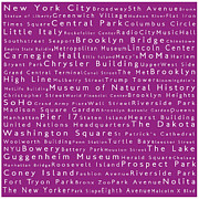 Famous Streets Prints - New York in Words Pink Print by Sabine Jacobs