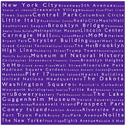 Famous Streets Prints - New York in Words Purple Print by Sabine Jacobs