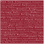 Famous Streets Prints - New York in Words Red Print by Sabine Jacobs