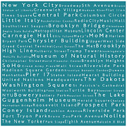 Lincoln Center Framed Prints - New York in Words Teal Framed Print by Sabine Jacobs