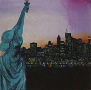 Waiter Mixed Media Metal Prints - New York  Metal Print by Jodie Welsh