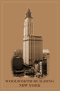 Woolworth Building Framed Prints - New York Landmarks 7 Framed Print by Andrew Fare