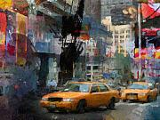 America Mixed Media - New York Lights by Lutz Baar