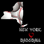 Abstract Map Posters - New York Loves Baseball Poster by Andee Photography
