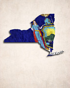 Americas Map Posters - New York Map Art with Flag Design Poster by World Art Prints And Designs
