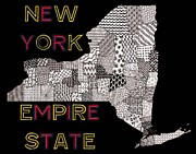 New York State Drawings - New York Map Black by Rebecca Jayne