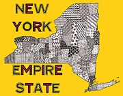 New York State Drawings - New York Map Gold by Rebecca Jayne
