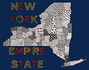 New York State Drawings - New York Map Navy by Rebecca Jayne