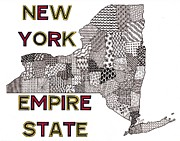 New York State Drawings - New York Map White by Rebecca Jayne