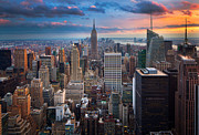 Manhattan Sunset Posters - New York New York Poster by Inge Johnsson