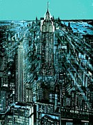 Midtown Drawings Posters - New York Night - Drawing Illustration Poster by Peter Art Print Gallery  - Paintings Photos Posters