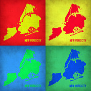 New York Map Framed Prints - New York Pop Art  Map 1 Framed Print by Irina  March