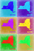 World Map Digital Art Metal Prints - New York Pop Art  Map 3 Metal Print by Irina  March