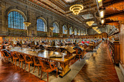 Rose Main Reading Room Prints - New York Public Library Main Reading Room II Print by Clarence Holmes