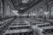Rose Main Reading Room Prints - New York Public Library Rose Room bw Print by Susan Candelario