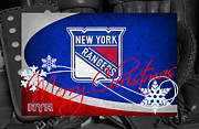 New York Rangers Posters - New York Rangers Christmas Poster by Joe Hamilton