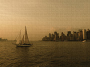 Boaters Photo Prints - New York Sailing at Sunset Print by Avis  Noelle