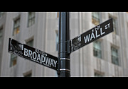 New York Framed Prints - New York Sign Broadway Wall Street Framed Print by Lars Ruecker
