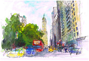 American City Drawings Prints - New York sketch 5 Print by Wim Wege van de