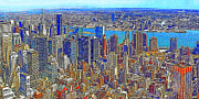 Manhatten Framed Prints - New York Skyline 20130430 Framed Print by Wingsdomain Art and Photography