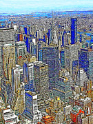 Broadway Digital Art Metal Prints - New York Skyline 20130430v2 Metal Print by Wingsdomain Art and Photography